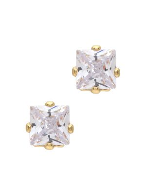 Gold Square Crystal Stud Earrings