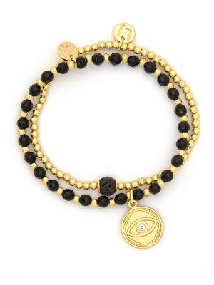 Gold Evil Eye Charm Bracelet