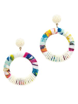 Multi Fabric Hoop Earrings