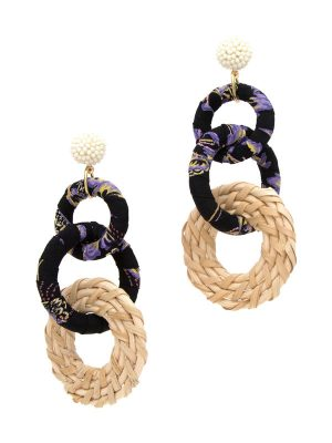 Black Fabric Link Earrings