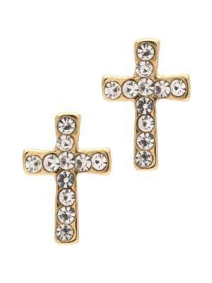 Crystal Cross Stud Earrings