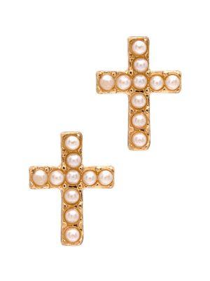 Gold Pearl Cross Stud Earrings