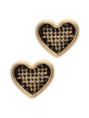 Gold Lattice Heart Stud Earrings