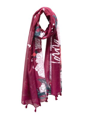 """Maroon Mantra Scarf – """"Love With All Your Heart And Life Will Always Be Full"""""""