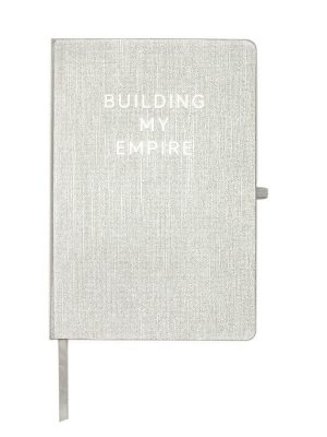 "Silver Metallic Message Journal – ""Building My Empire"""