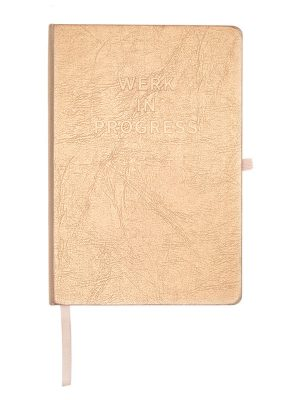 "Rose Gold Metallic Message Journal – ""Werk In Progress"""