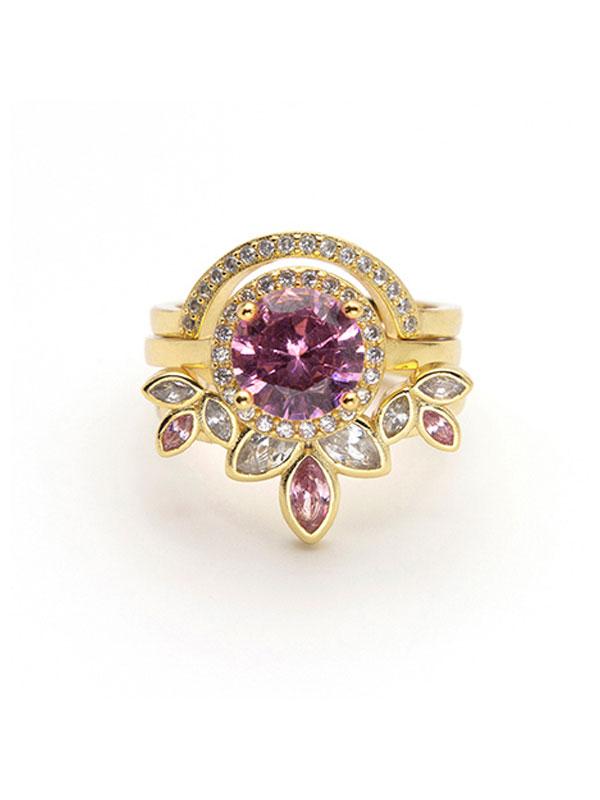 Romantic Crystals Stacking Ring Set