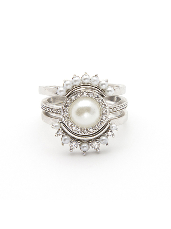 Victorian Pearl Stacking Ring Set