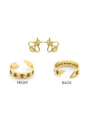 "Mantra Ring & Earring Set – ""Be strong and know your worth"""