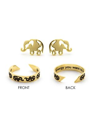 "Mantra Ring & Earring Set – ""Be the energy you want to attract"""