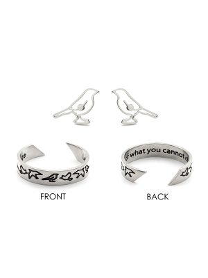 "Mantra Ring & Earring Set – ""Let go of what you cannot change"""