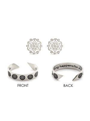 "Mantra Ring & Earring Set – ""Everything happens for a reason"""