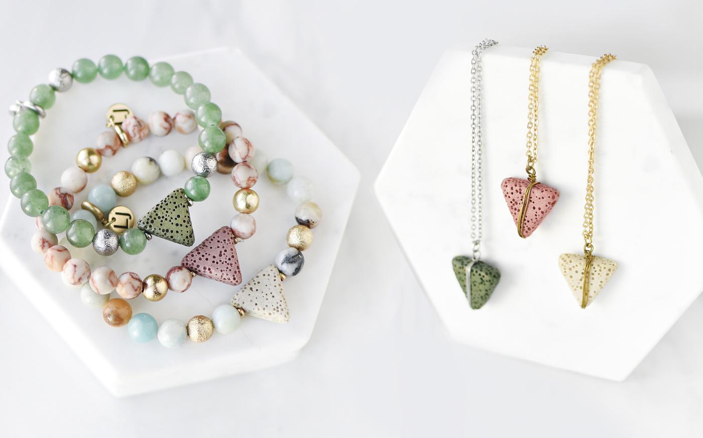 Essential Oil Pyramid Necklaces & Bracelets